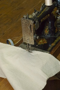 Sewing the canvas